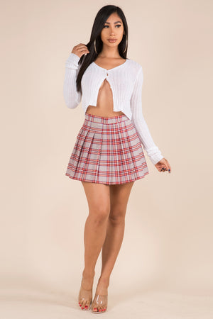 Plaid Pleated Mini Skirt
