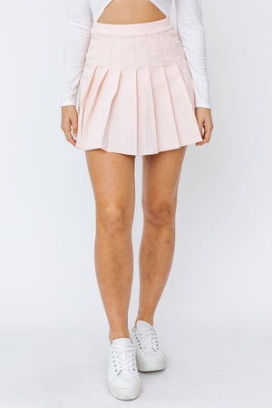 Maddy Pleated Mini Skirt - baby pink