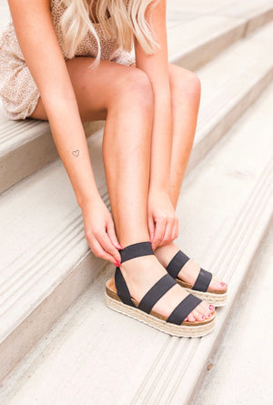 Black Strap Esoadrille Sandals