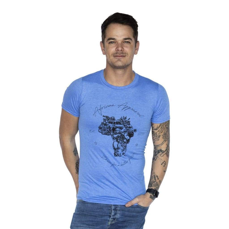 AFRICAN Apparel SA - Men's Africa Signature Blue Melange - Gifting Ideas