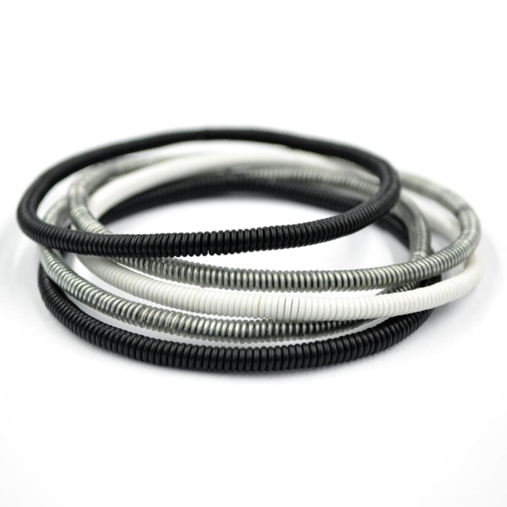 African Wire Bracelet - Black White Silver - Accessories