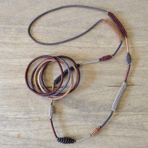 African Wire Necklace - Burnt Clay - Accessories