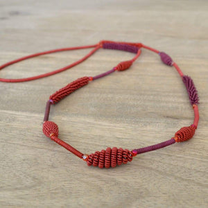 African Wire Necklace - Pomegranate - Accessories