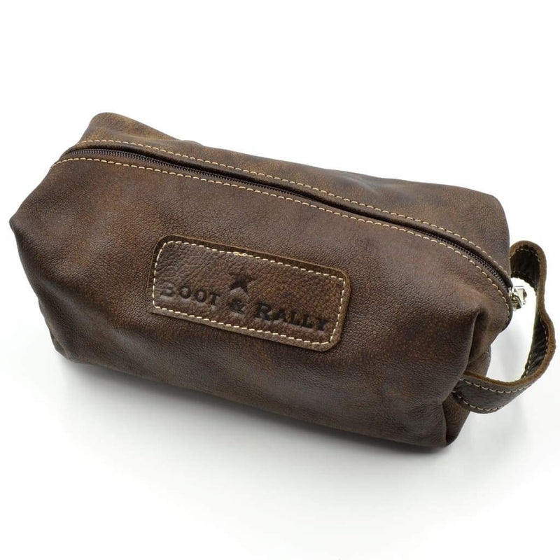 Boot & Rally Toiletry Bag Full Leather - Buffed Brown - Gifting Ideas
