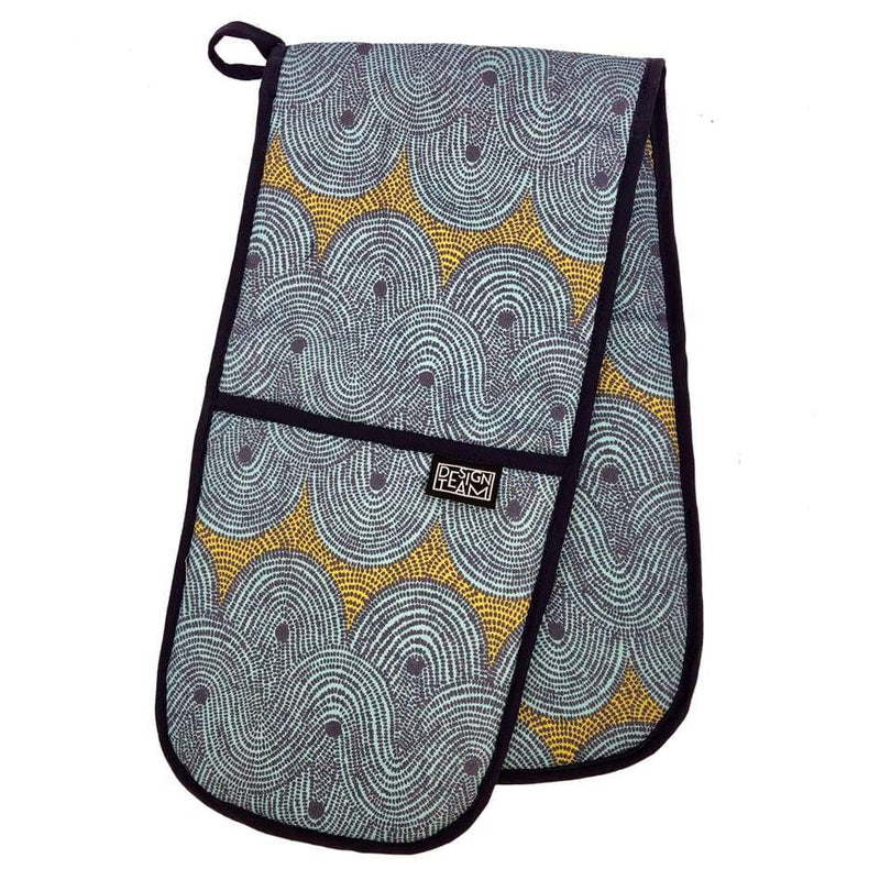 Design Team Oven Gloves Crop Field Aqua with Navy Binding - House & Home