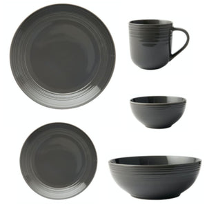 JENNA CLIFFORD - Embossed Lines - Cereal Bowl Dark Grey - Jenna Clifford