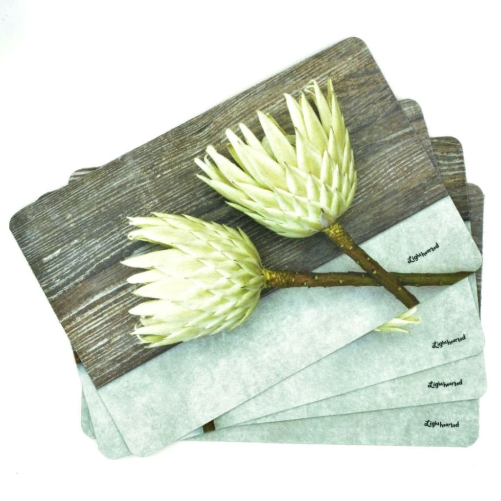 Lighthearted Placemat Set - White on Wood - Gifting Ideas