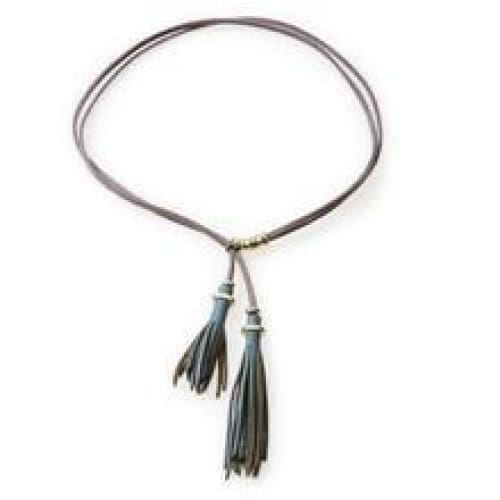 NO MEMO Wild Leather tassel Necklace Choker & Bracelet Grey - Accessories