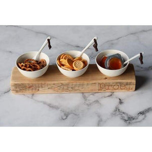 WOODEN BOARD Including 3 bowls - Gifting Ideas