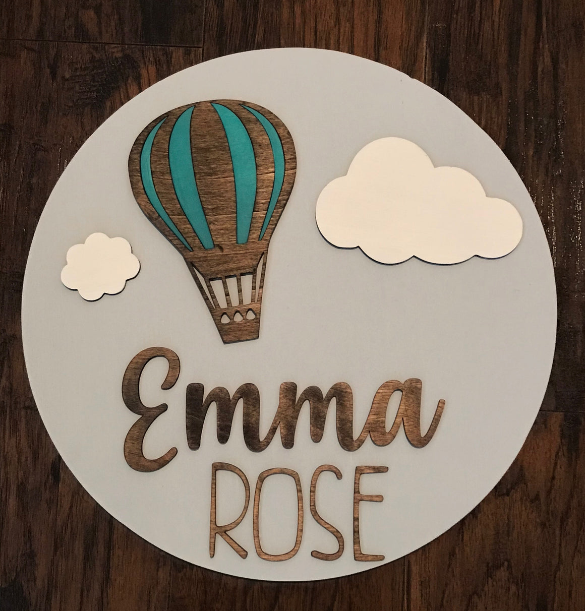 "18"" Personalized Hot Air Balloon Themed Round Wood Sign"