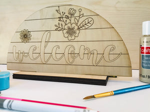 DIY Welcome Sign Shelf Sitter - Personalize It Etc