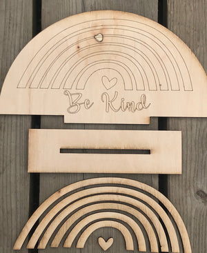 DIY Rainbow Be Kind Shelf Sitter Sign - Personalize It Etc