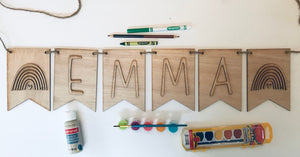 DIY Personalized Name Banner with Rainbows. - Personalize It Etc
