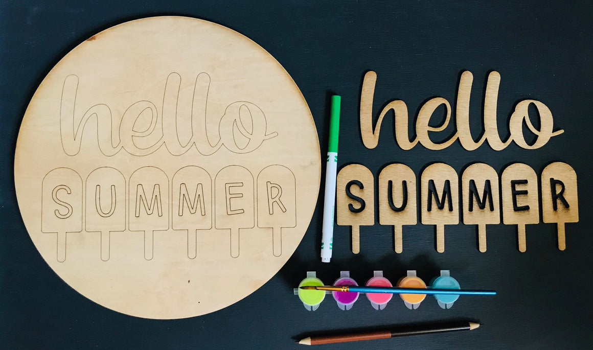 DIY Hello Summer Round Wood Sign - Personalize It Etc