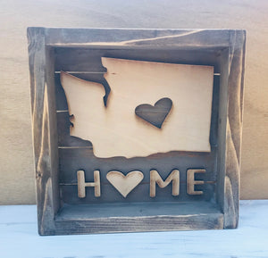 Washington State Home Box Style Sign - Personalize It Etc