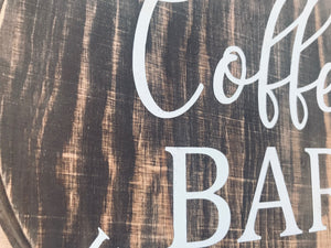 "Coffee Bar 8"" Round Wood Sign"
