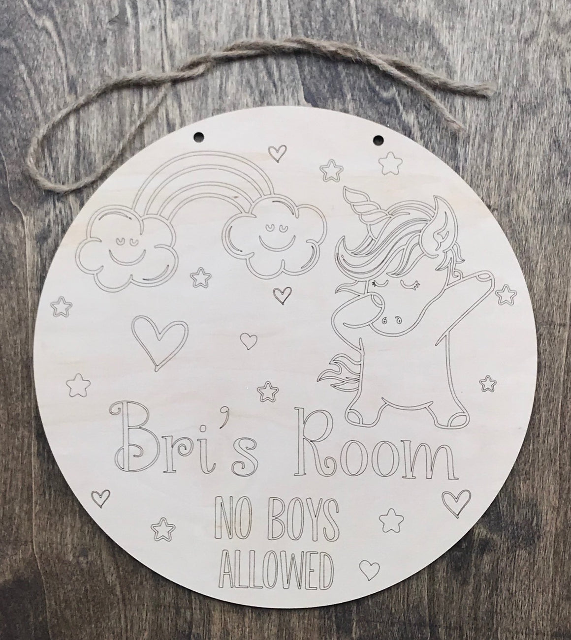 DIY / Unfinished Unicorn Sign - Personalized
