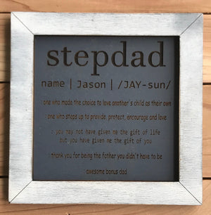 Personalized Father's Day Wood Sign for StepDad