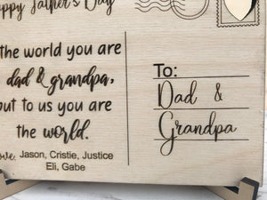 Personalized Wood Father's Day Postcard for Dad & Grandpa