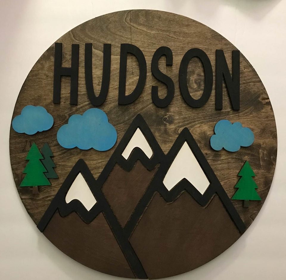 "18"" Personalized Mountain Theme Round Wood Sign"