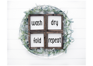 Laundry Room Framed Wood Sign Set of 4