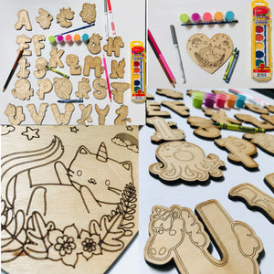 Wooden Cutouts for DIY coloring / painting - Personalize It Etc