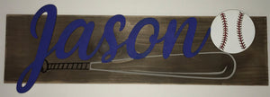 Personalized Baseball Themed Wood Sign - Personalize It Etc