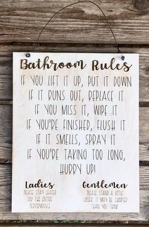 Bathroom Rules Sign | Funny Bathroom Decor
