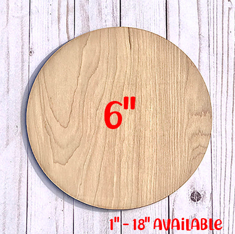 "5 PACK 6"" Unfinished Wood Round Circles"