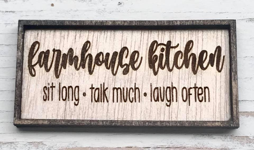 Miniature Farmhouse KItchen Framed Wood Sign Magnet