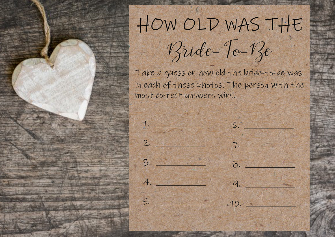How Old Was the Bride-to-be Bridal Shower Games - Personalize It Etc