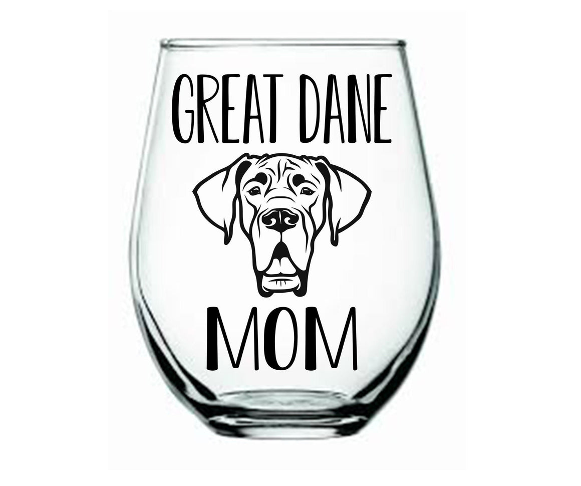Great Dane Mom Stemless Wine Glass - Personalize It Etc
