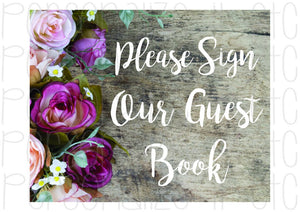 Wedding Please Sign Our Guest Book - Personalize It Etc