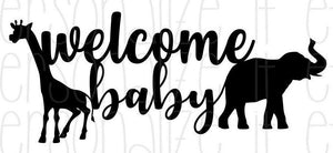 Safari Theme Welcome Baby Cake Topper - Personalize It Etc