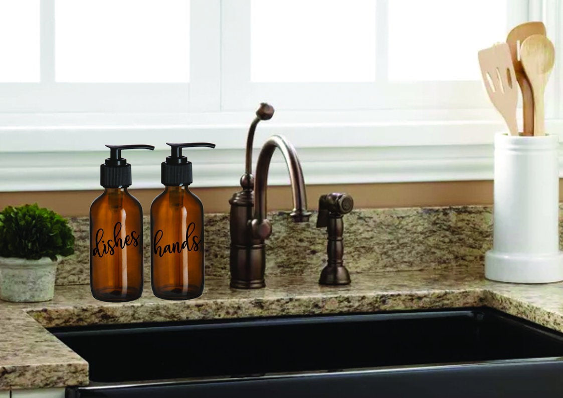 Dishes And Hands Amber Glass Soap Dispenser Set - Personalize It Etc