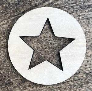 Star Inside of a Circle - Unfinished Wood Blank