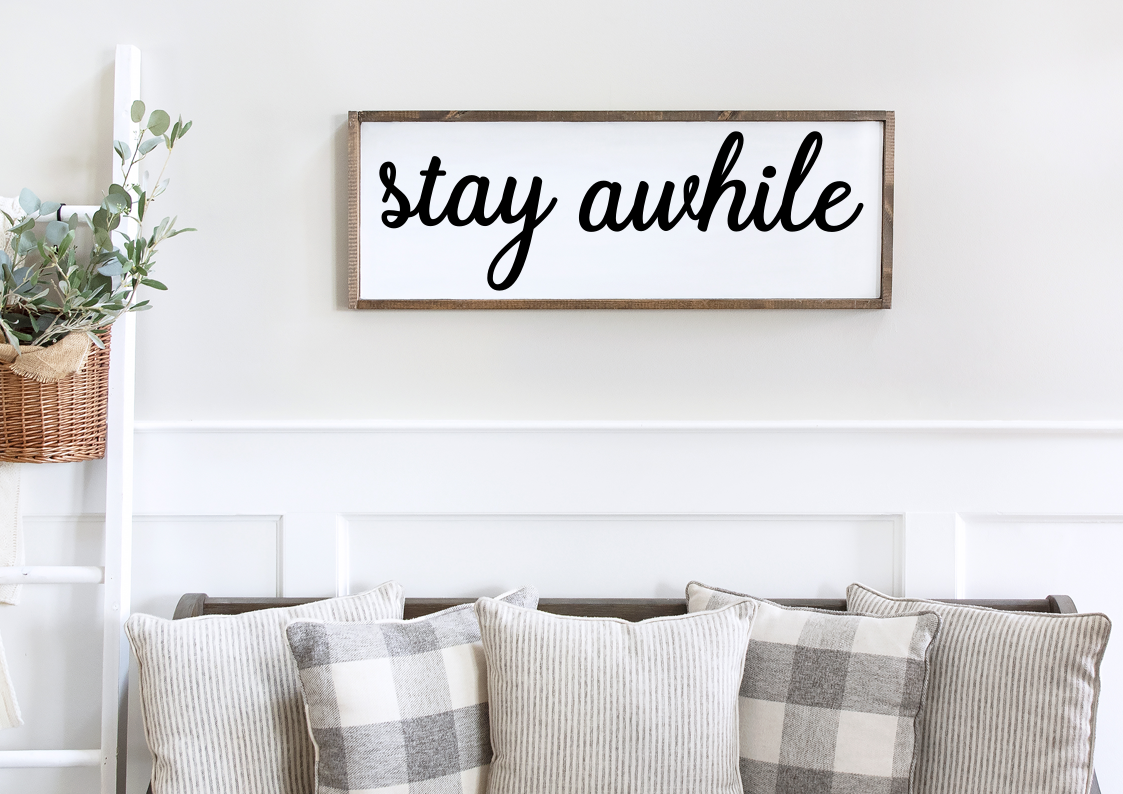 Stay Awhile Framed Wood Sign  - Farmhouse Style