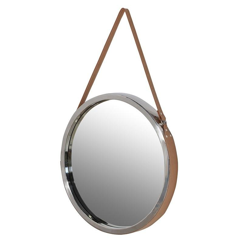 Ahoy-There Round Wall Mirror on Leather Strap