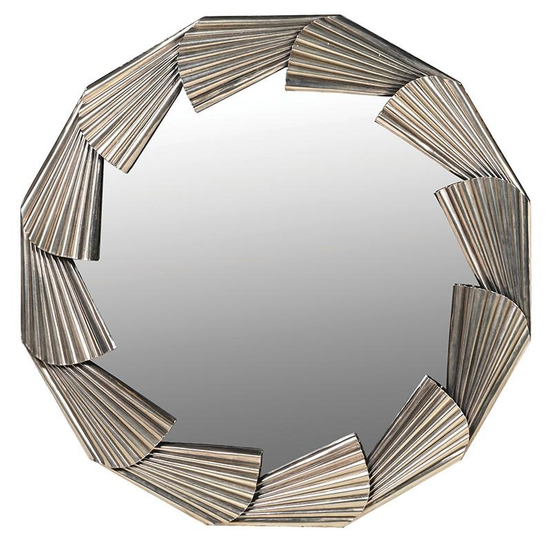 Alymere Art Deco Gold Round Mirror
