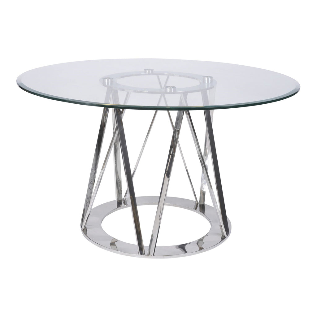 Amara Steel & Glass Sculpture Dining Table