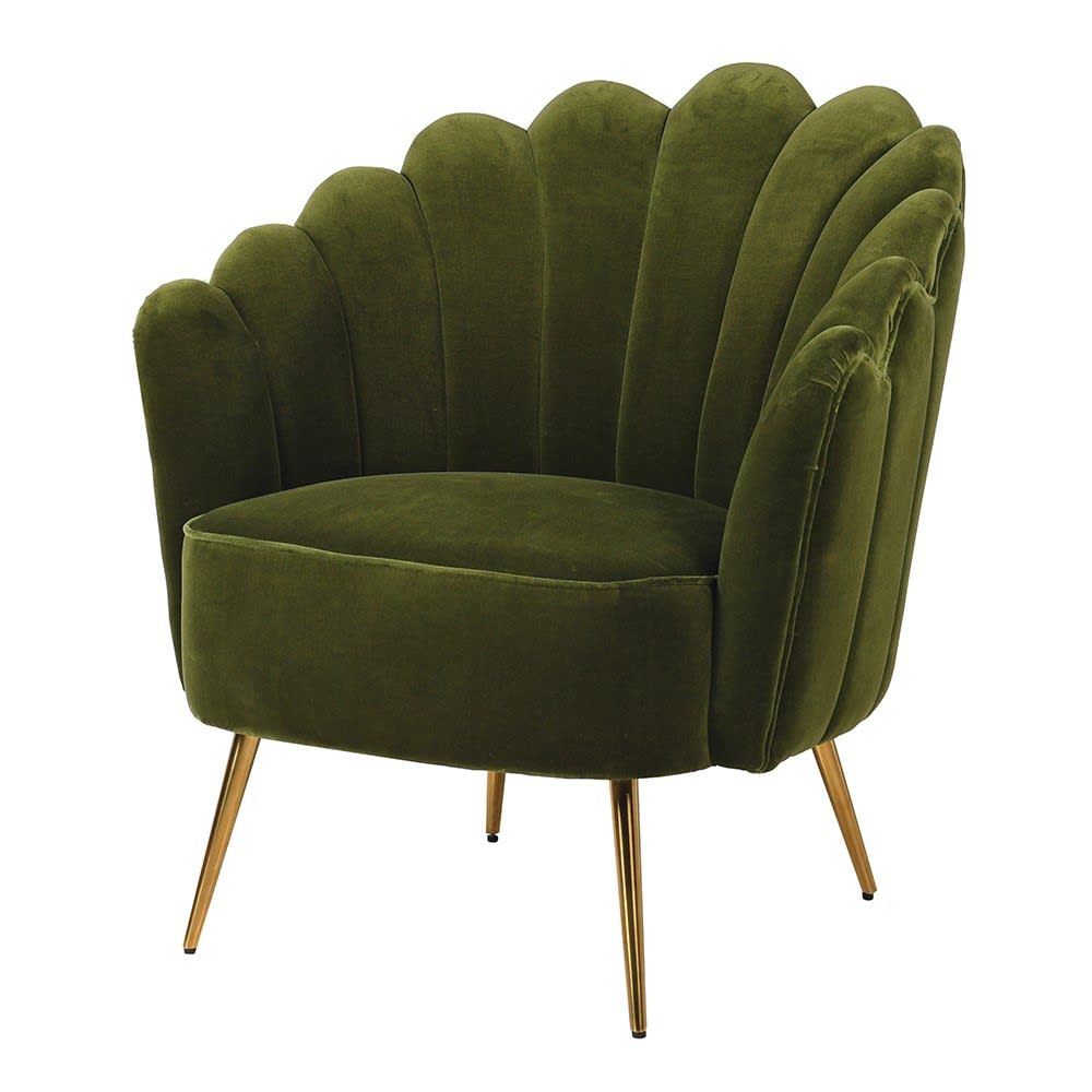 Amendanos Shell Chair with Olive Green Velvet