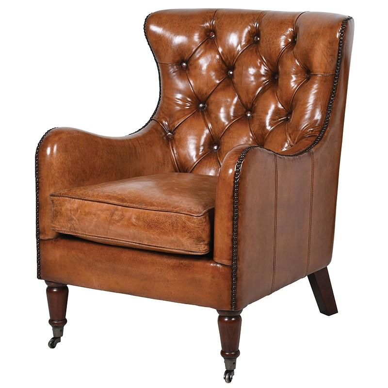 Angello Leather Salon Armchair