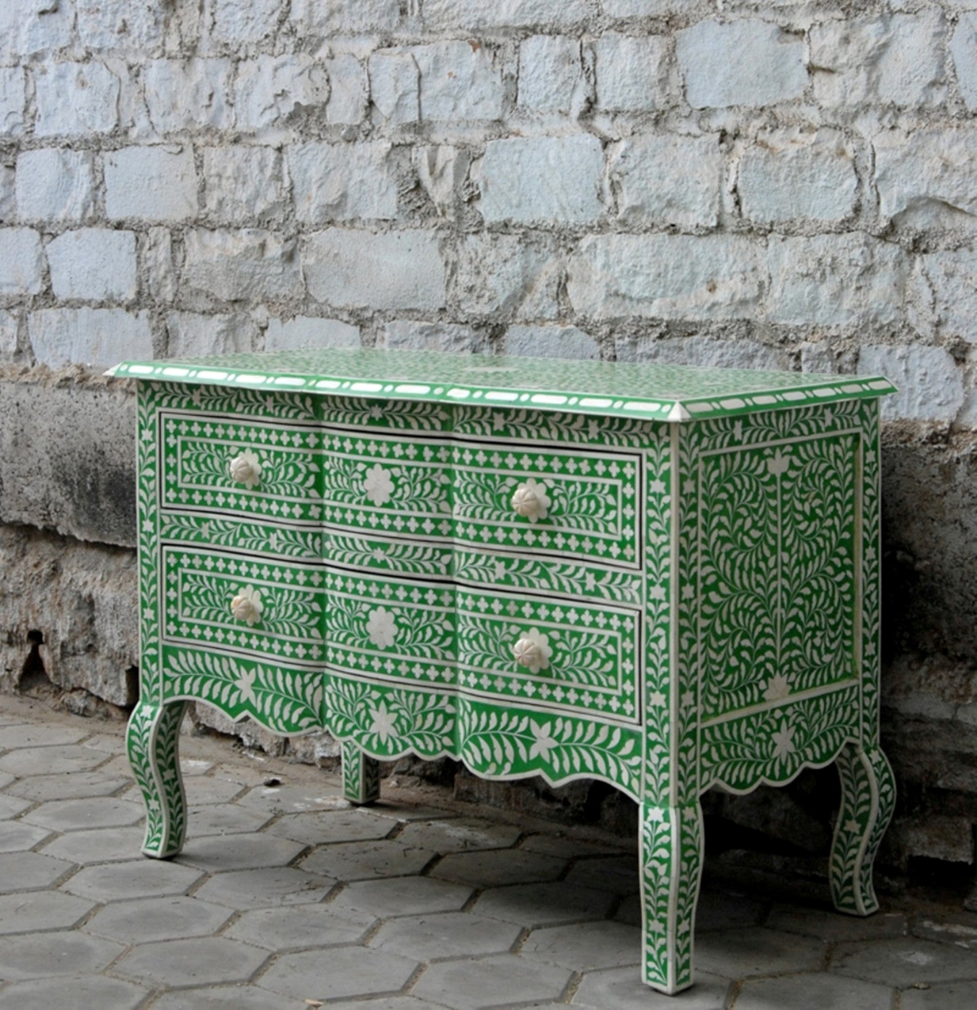 Emerald Green Bone Inlay Chest Of Drawers Shropshire Design