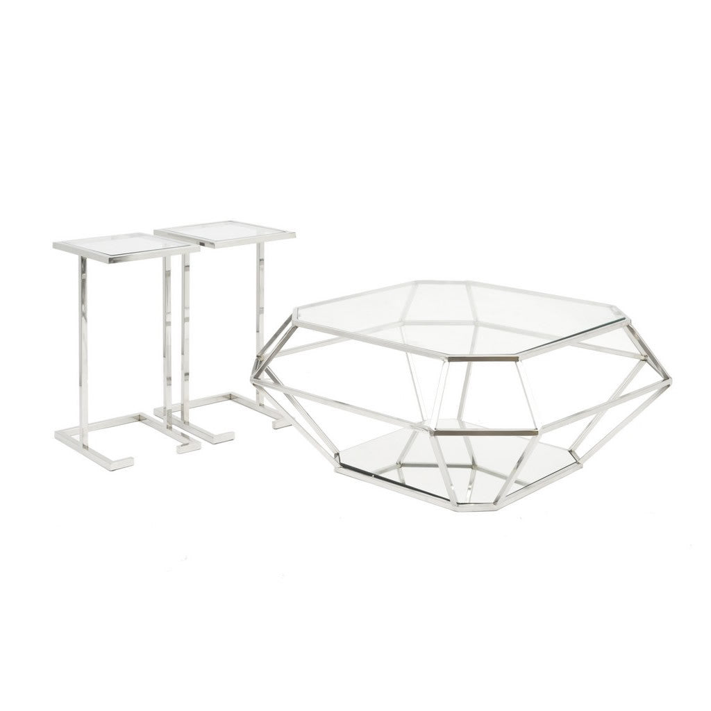 Asscher Diamond Coffee Table with 2 Side Tables