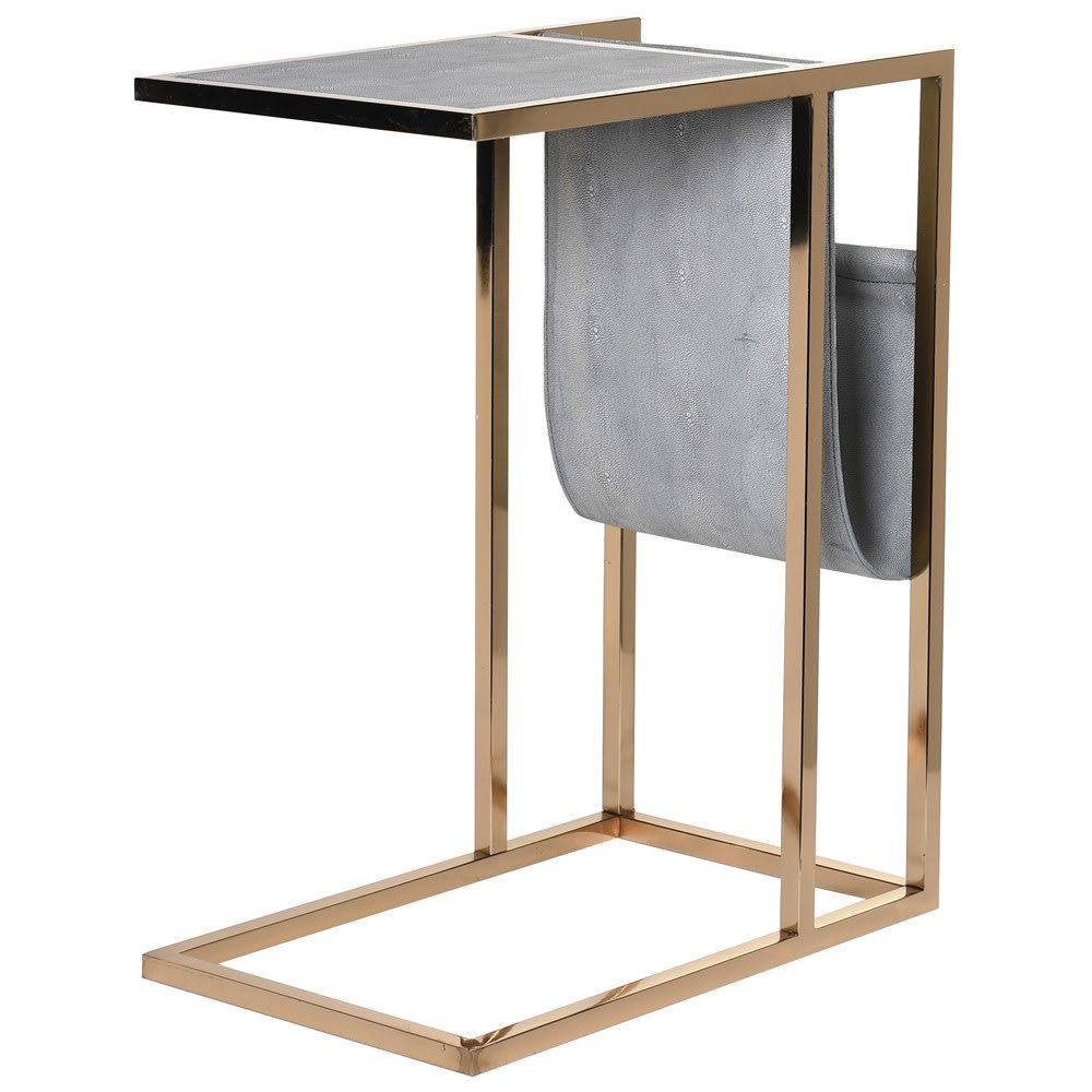 Astor Side Table with Magazine Rack in Faux Shagreen
