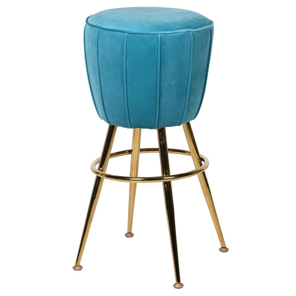 Azores Barstool with Turquoise Velvet