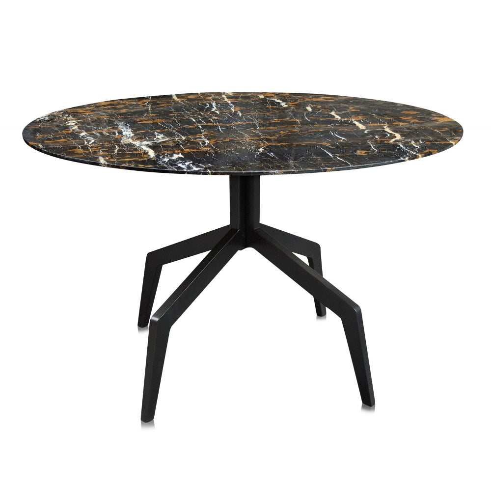 Baudillane Dining Table with Black Marble and Black Metal Legs