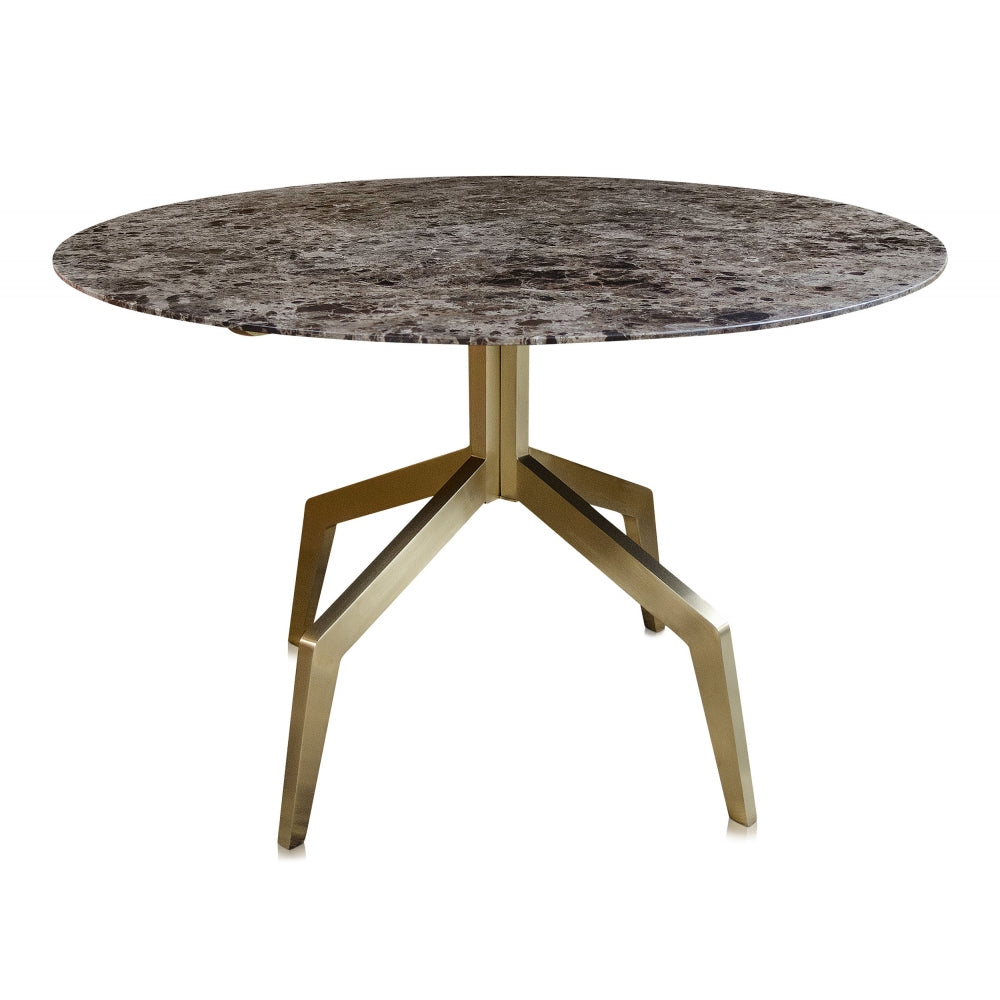 Baudillane Dining Table with Brown Marble and Brushed Gold Legs