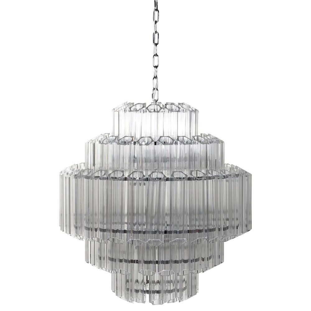 Belmont Chandelier with Stunning Glass and Iron Accents