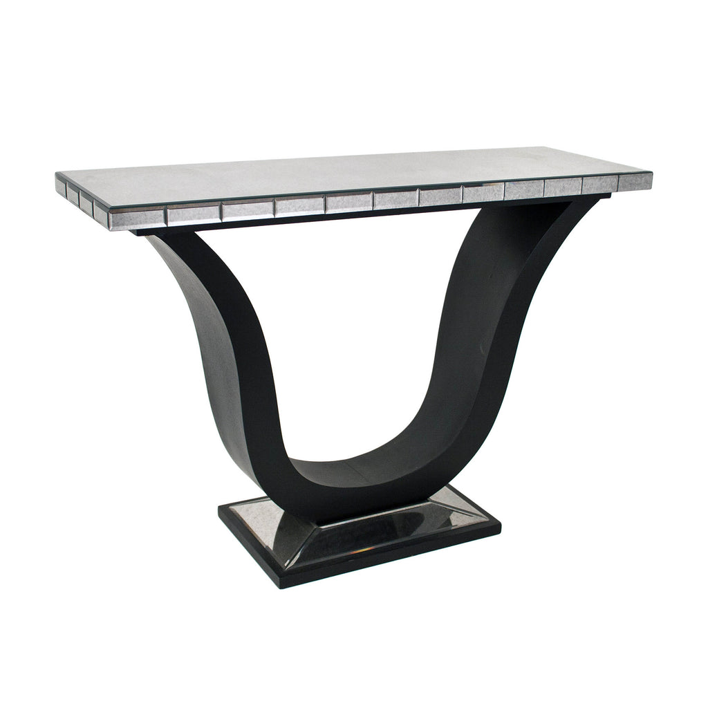 RV Astley Berlin Art Deco Black Mirrored Console Table